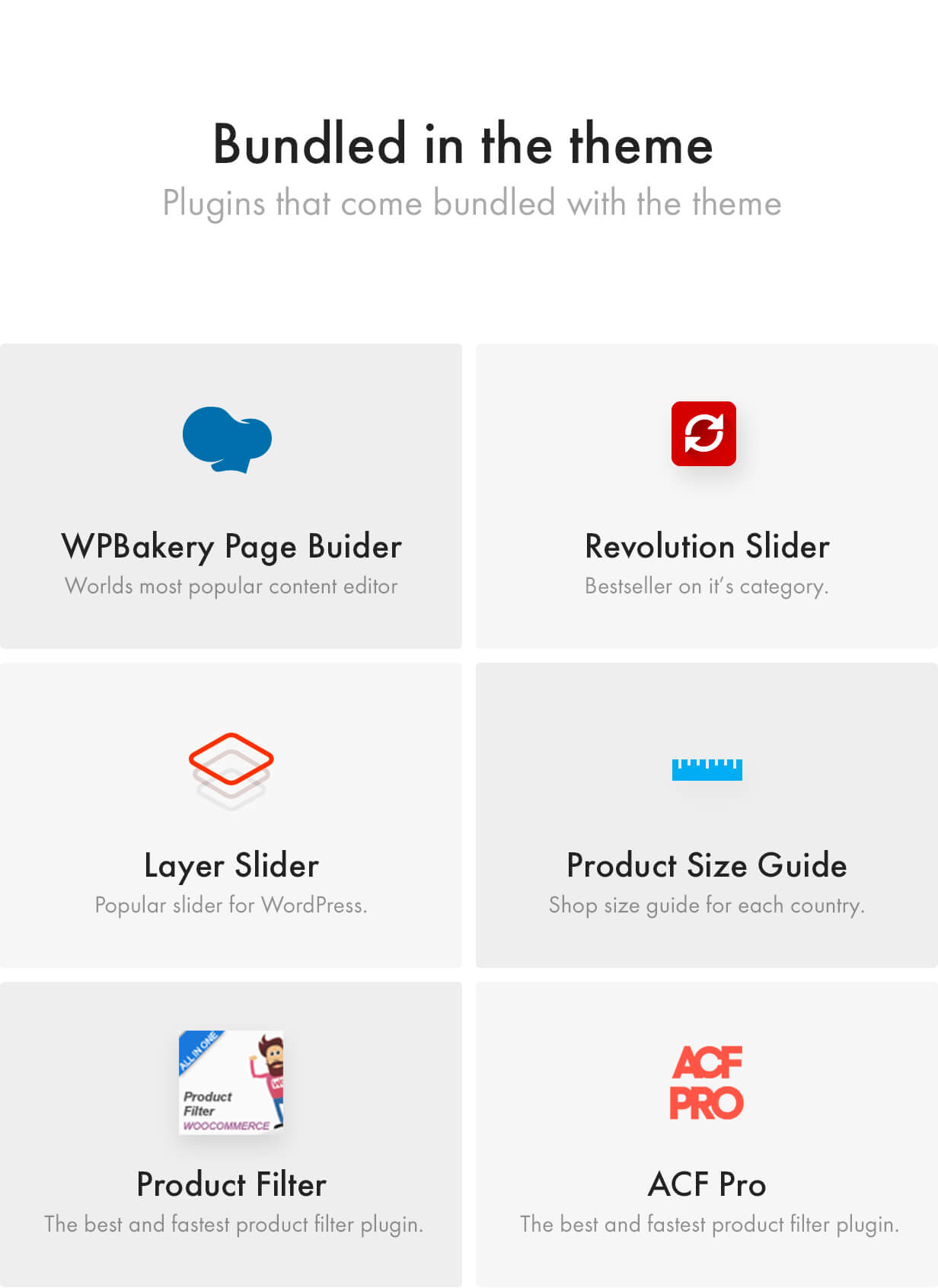 Premium Plugins included, WPBakery Page Builder, Revolution Slider, Layer Slider, Advanced Custom Fields PRO, Product Size Guide, WooCommerce Size Guide