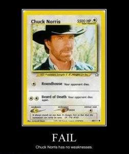 Chuck Norris has no weakness...!