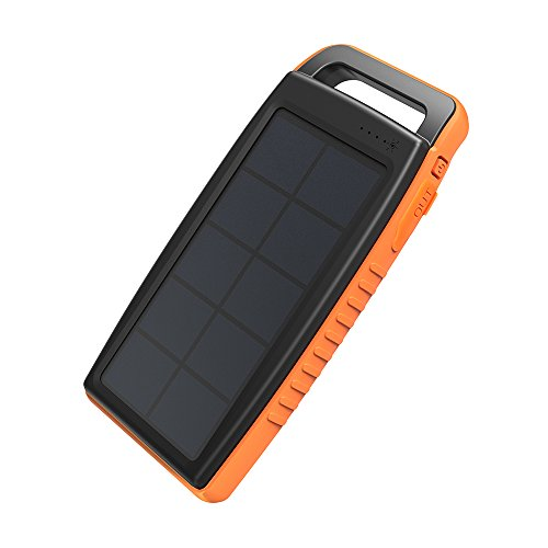 Solar Charger RAVPower 15000mAh Outdoor Portable Charger Solar Power Bank Dual USB External Battery...