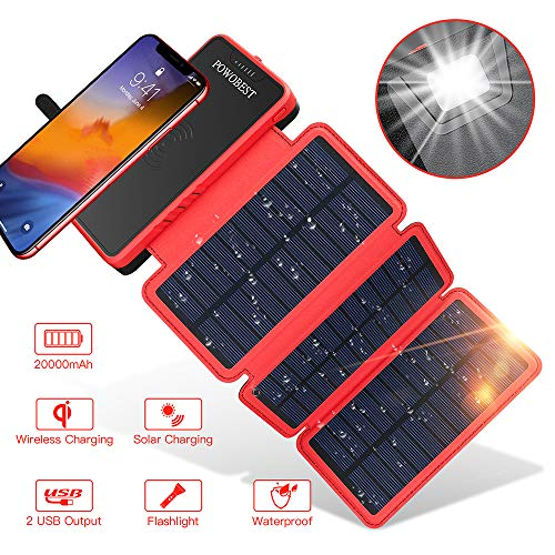 POWOBEST wireless Solar Phone Charger with 3 Solar Panels