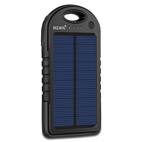 Solar Charger, Dizaul 5000mAh Portable Solar Power Bank Waterproof/Shockproof/Dustproof Dual USB...