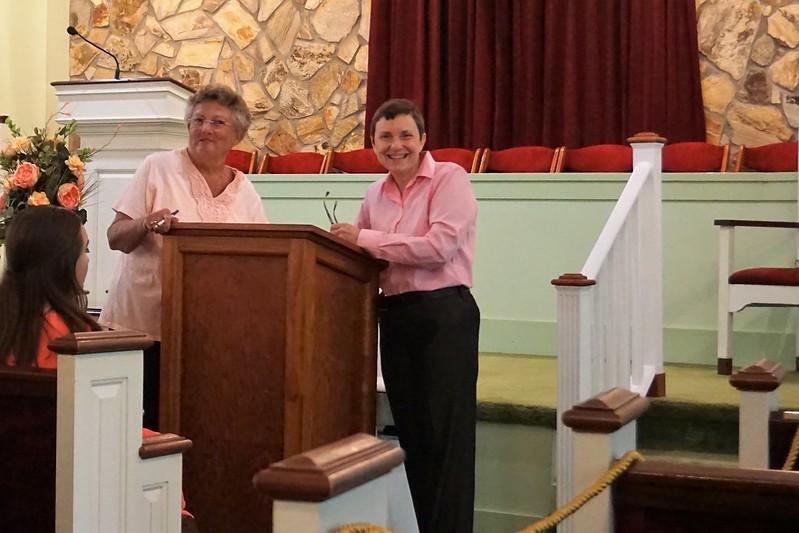 Jan Williams & Jilly Stuckey, Sunday School with Former President Carter, Maranatha Baptist Church, Plains, Ga., June 23, 2019