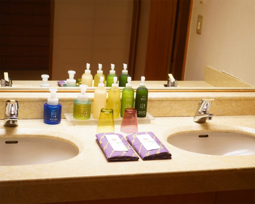 Bathroom amenities in our room