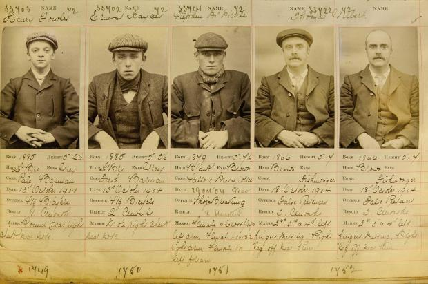 The real Peaky Blinders who operated in Birmingham in the early 1900s. Pictured from left to right are Henry Fowler, Ernest Bayles, Stephen McHickie and Thomas Gilbert (two pictures of him - one with cap, one without)
