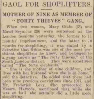 A newspaper report from the time describing gang members being jailed