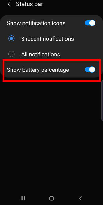 show battery percentage on the Galaxy Note 10 status bar