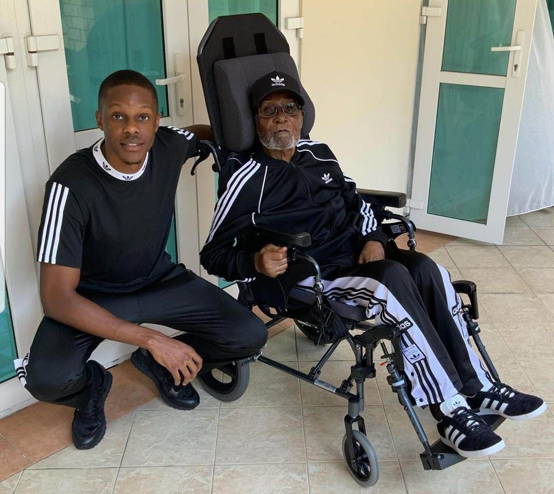 Robert Mugabe was pictured here with his son Robert in June, appearing frail with a white beard in a wheelchair
