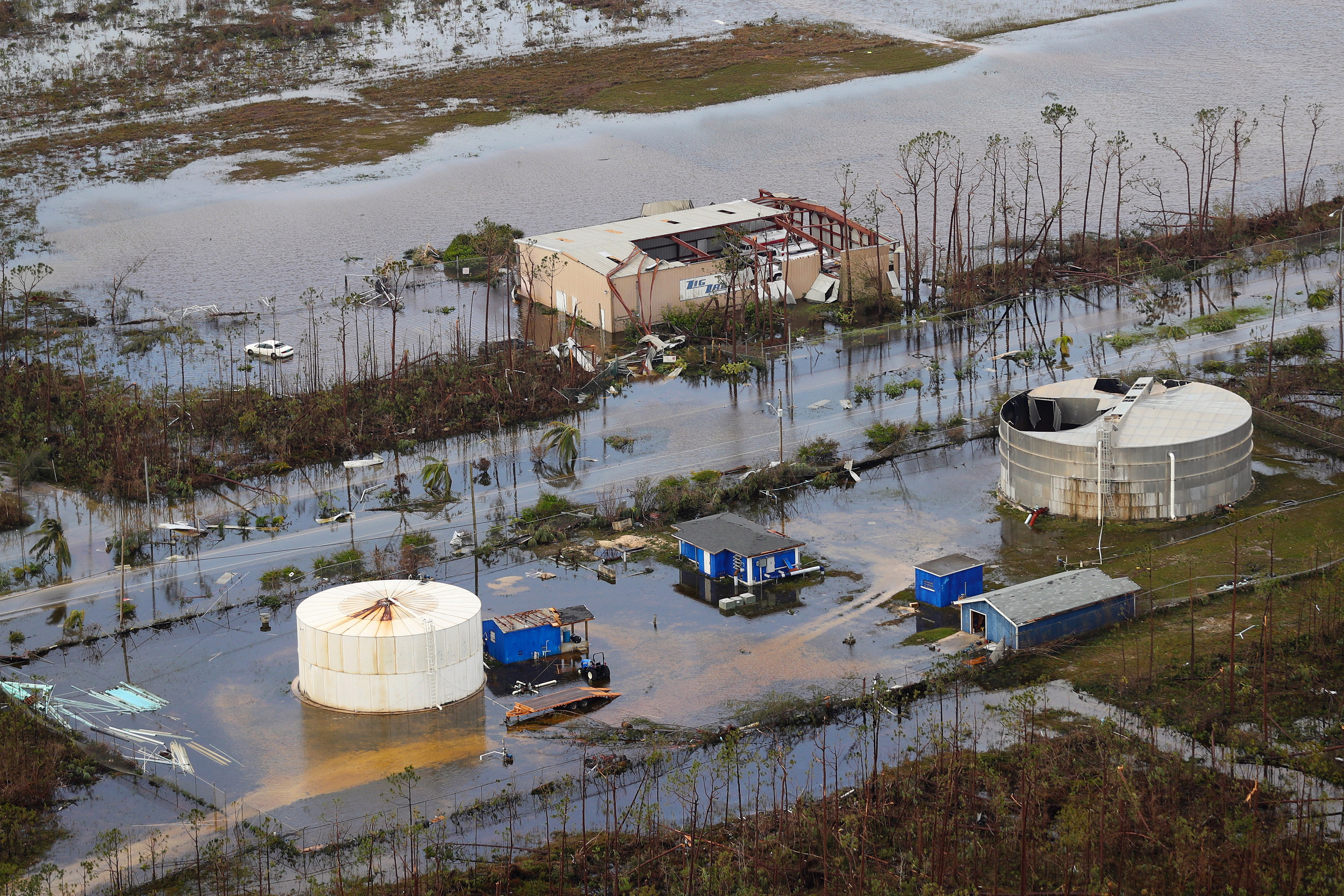 Huge areas are still flooded after the deadly storm ravaged the Bahamas