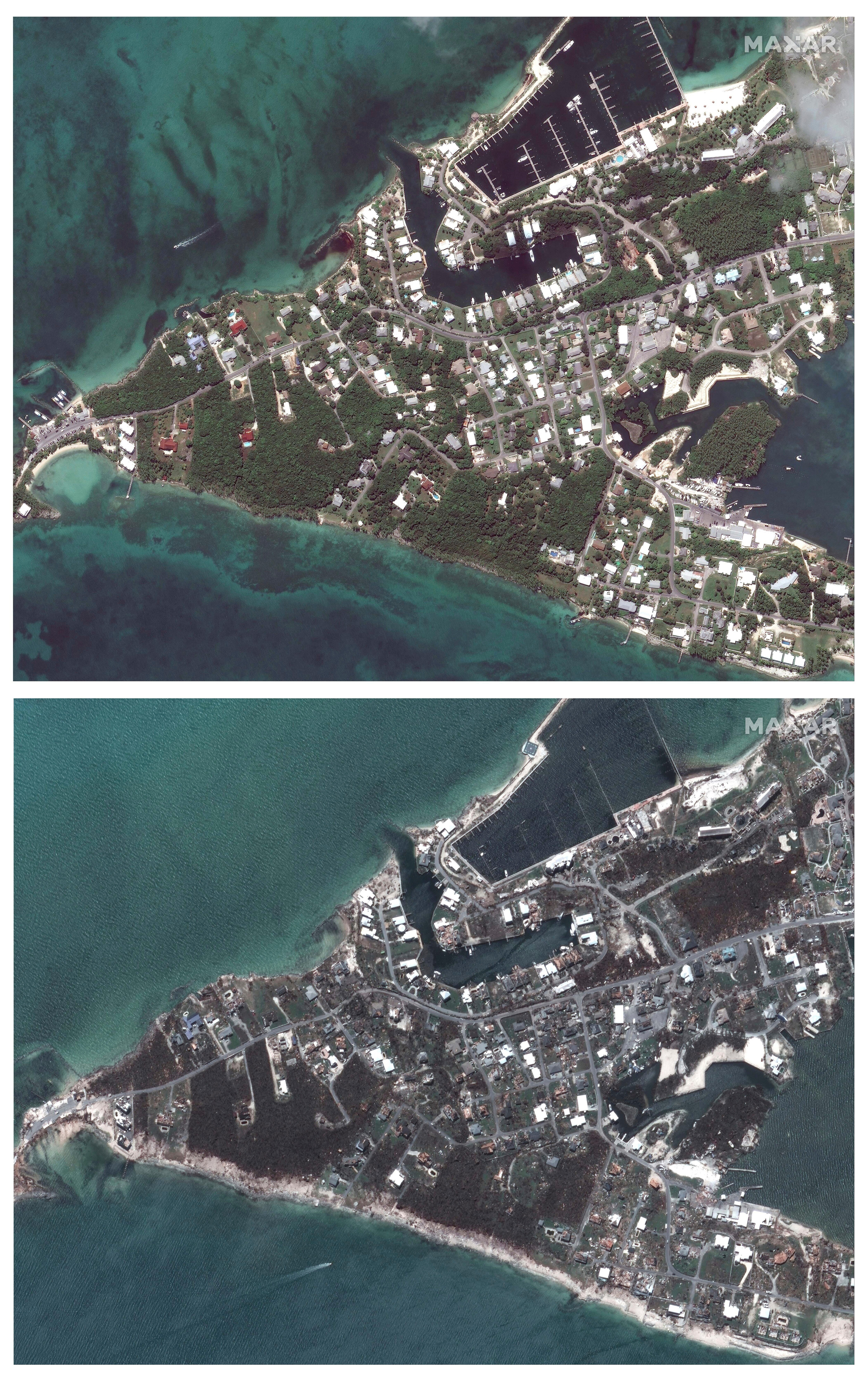 Marsh Harbour in The Bahamas before and after the deadly storm