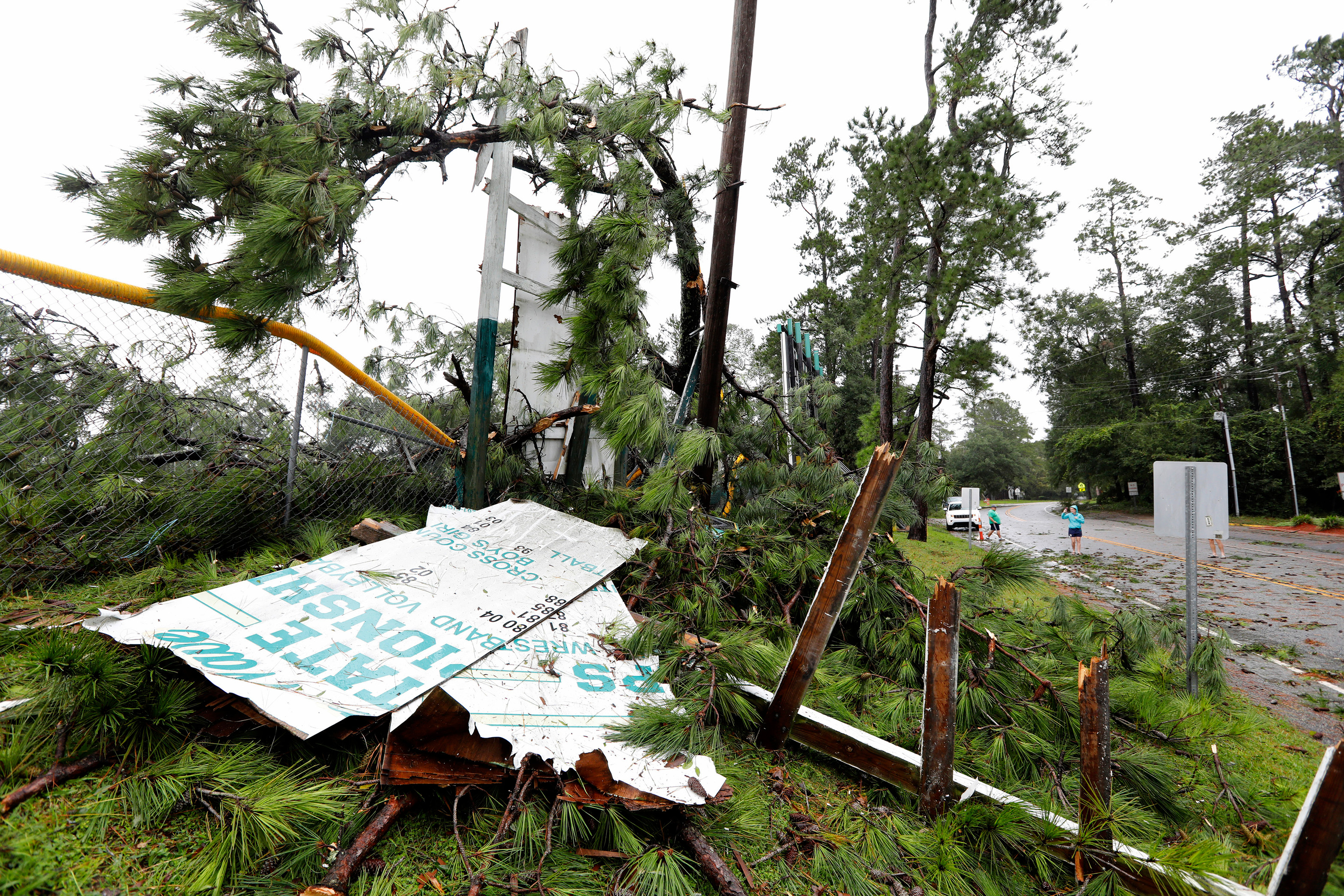 The storm wrecked Summerville High Schools football field in South Carolina