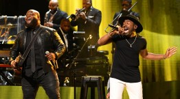 ATLANTA, GEORGIA - SEPTEMBER 05: Leon Timbo and Major onstage during 2019 Black Music Honors at Cobb Energy Performing Arts Centre on September 05, 2019 in Atlanta, Georgia. (Photo by Paras Griffin/Getty Images for Black Music Honors)