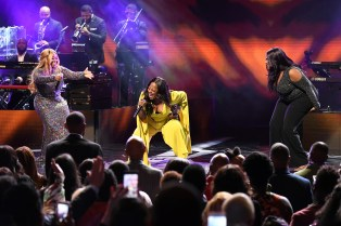 ATLANTA, GEORGIA - SEPTEMBER 05: Jekalyn Carr, Le'Andria Johnson, and Kelly Price perform onstage during 2019 Black Music Honors at Cobb Energy Performing Arts Centre on September 05, 2019 in Atlanta, Georgia. (Photo by Paras Griffin/Getty Images for Black Music Honors)