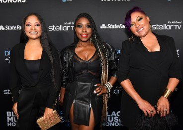 ATLANTA, GEORGIA - SEPTEMBER 05: Irish Grinstead, Meelah Williams, and LaMisha Grinstead of 702 attend 2019 Black Music Honors at Cobb Energy Performing Arts Centre on September 05, 2019 in Atlanta, Georgia. (Photo by Paras Griffin/Getty Images for Black Music Honors)