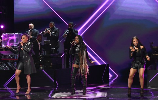 ATLANTA, GEORGIA - SEPTEMBER 05: LaMisha Grinstead, Kameelah Williams, and Irish Grinstead of 702 perform onstage during 2019 Black Music Honors at Cobb Energy Performing Arts Centre on September 05, 2019 in Atlanta, Georgia. (Photo by Paras Griffin/Getty Images for Black Music Honors)
