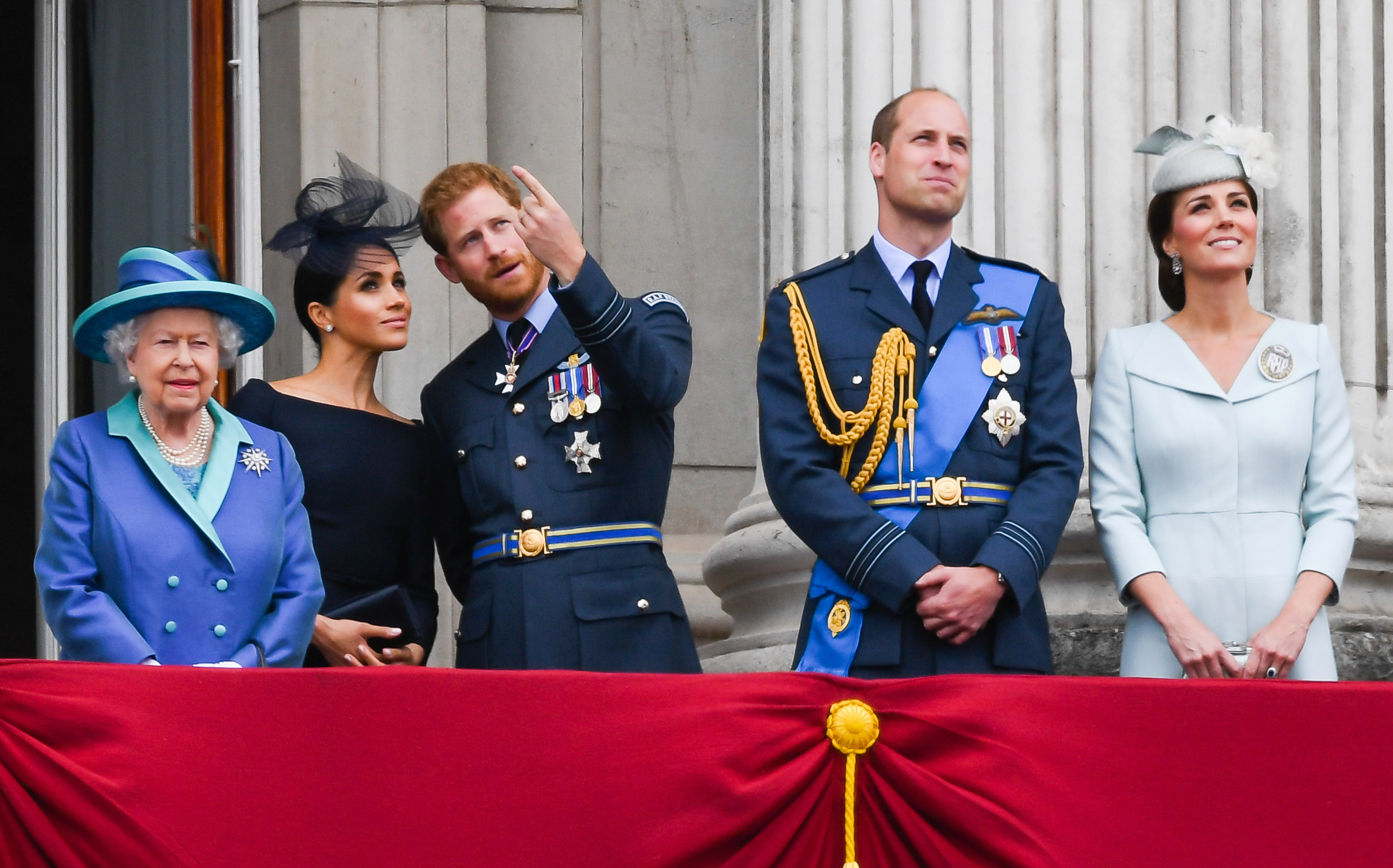Meghan and Prince Harry with The Queen and Prince William at Buckingham Palace
