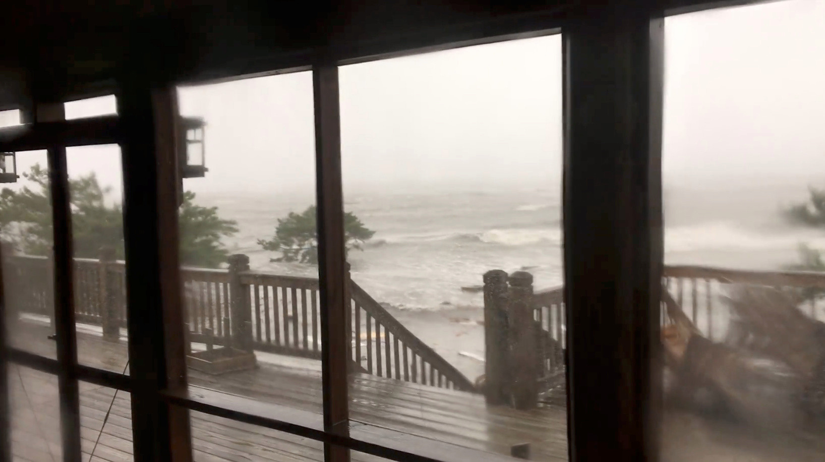 Local residents described the flooding as 'biblical' after the storm hit the island yesterday