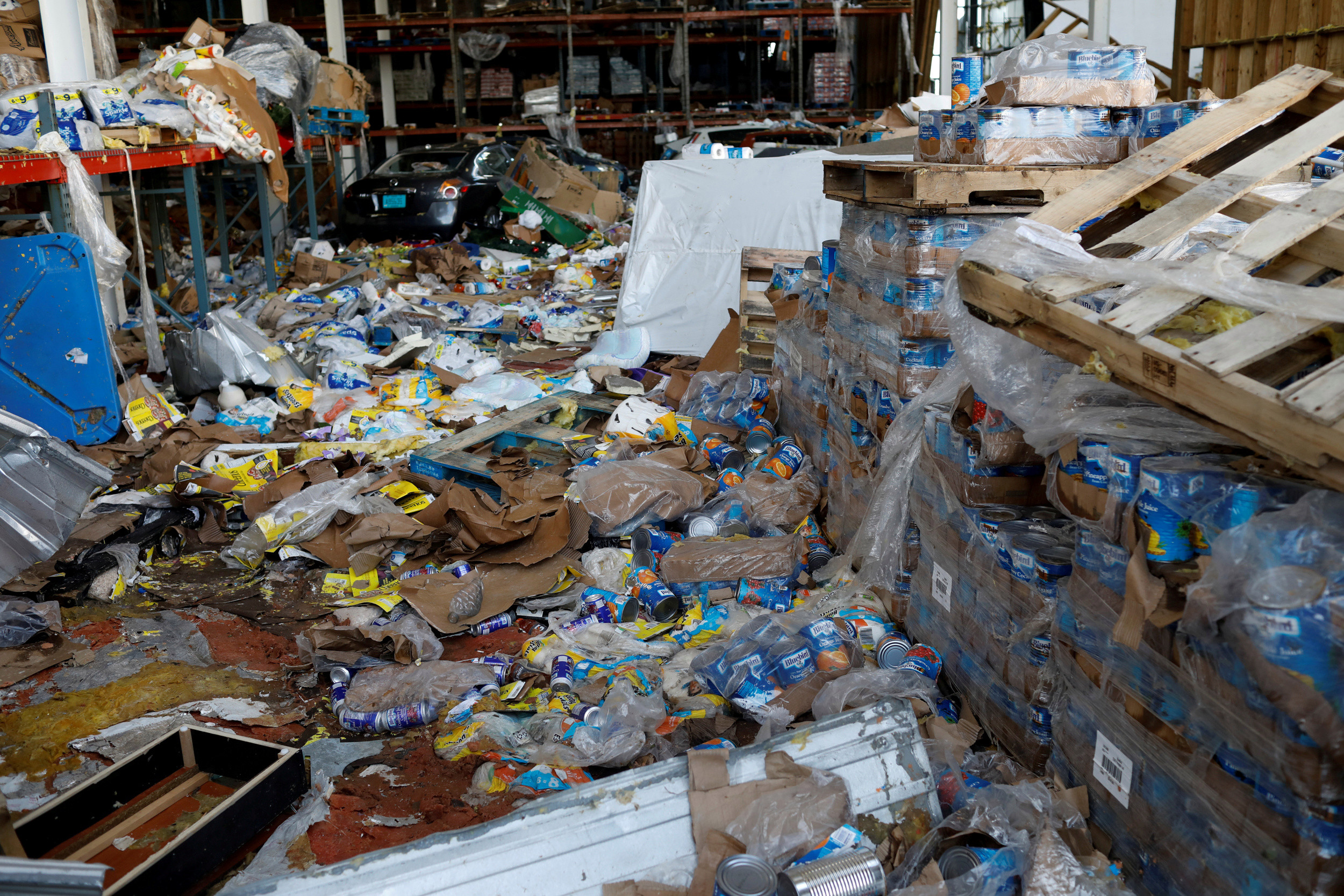 A looted supermarket in Marsh Harbour, Bahamas