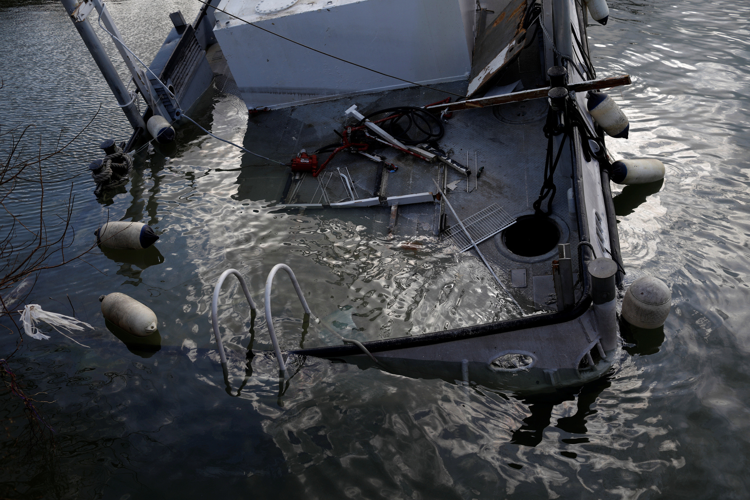 A destroyed boat is seen at a marina after Hurricane Dorian hit the Abaco Islands in Marsh Harbour, Bahamas