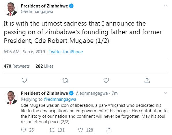 President Mnangagwa confirmed the news that Robert Mugabe had died