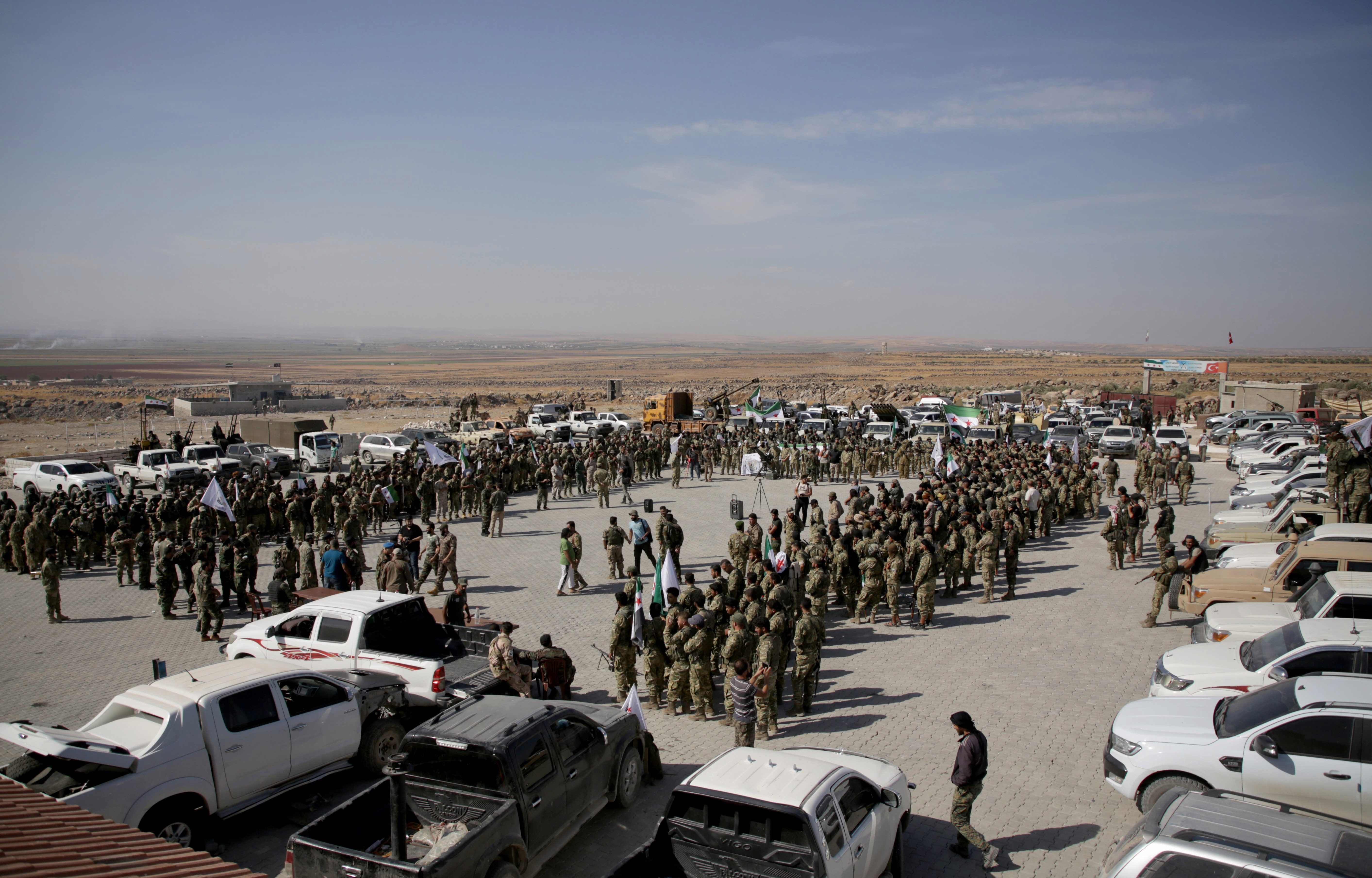 Syrian National Army forces are dispatched to Manbij front line ahead of Turkey's planned operation in the east of the Euphrates