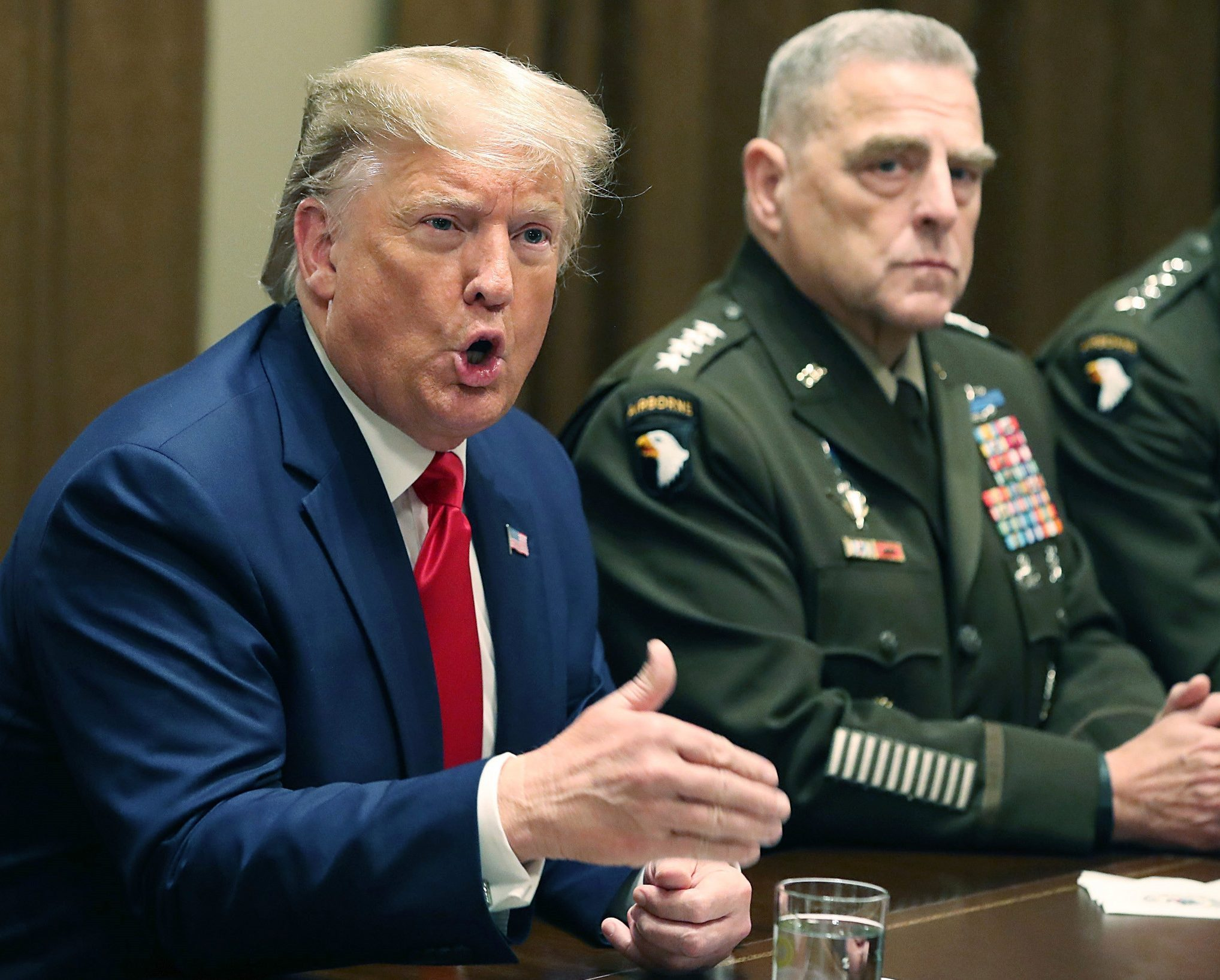 President Donald Trump at a briefing from senior military leaders in the Cabinet Room