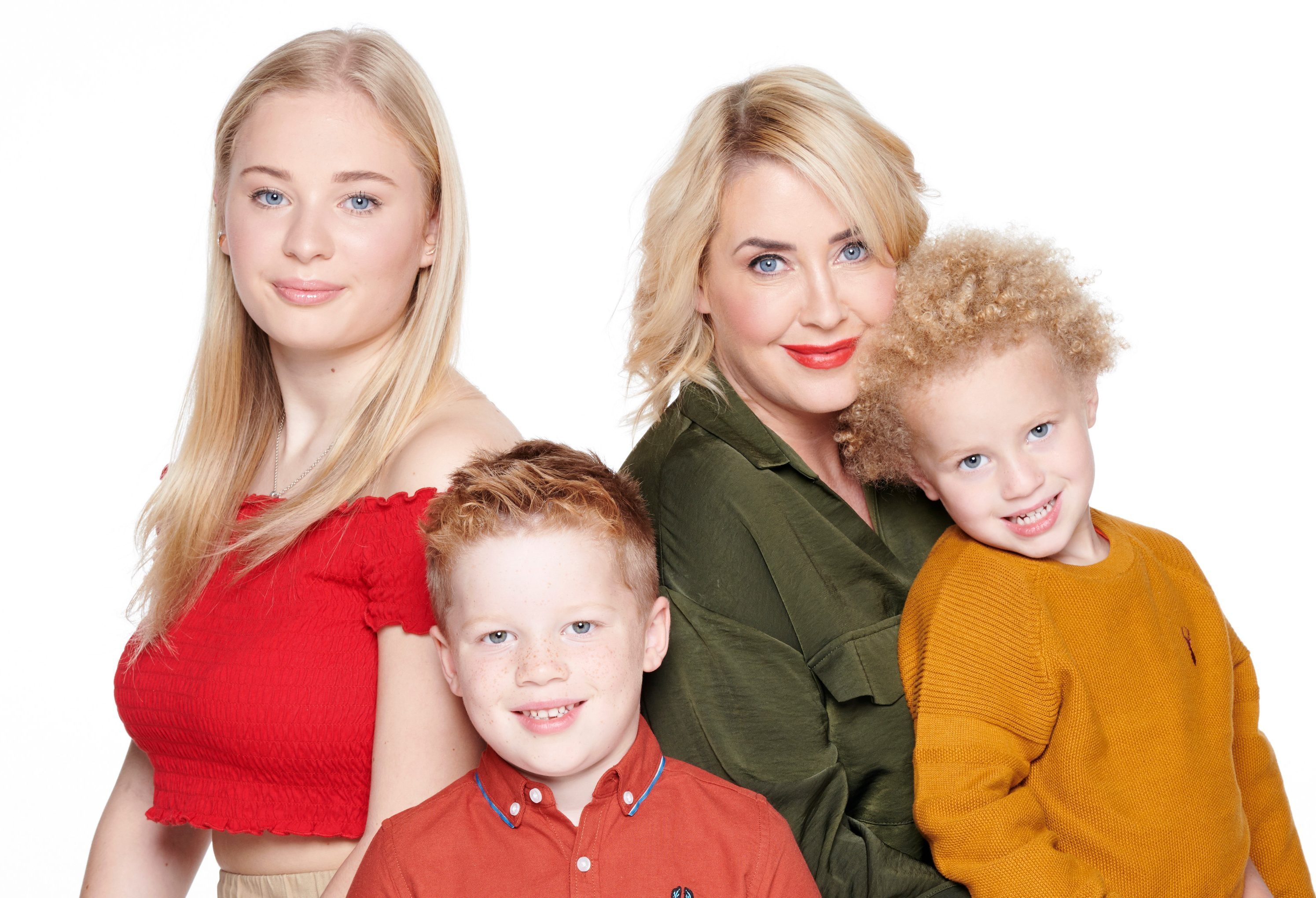 Clare, 41, with kids Ellie, 15, Jonah, six, and four-year-old Jaxon