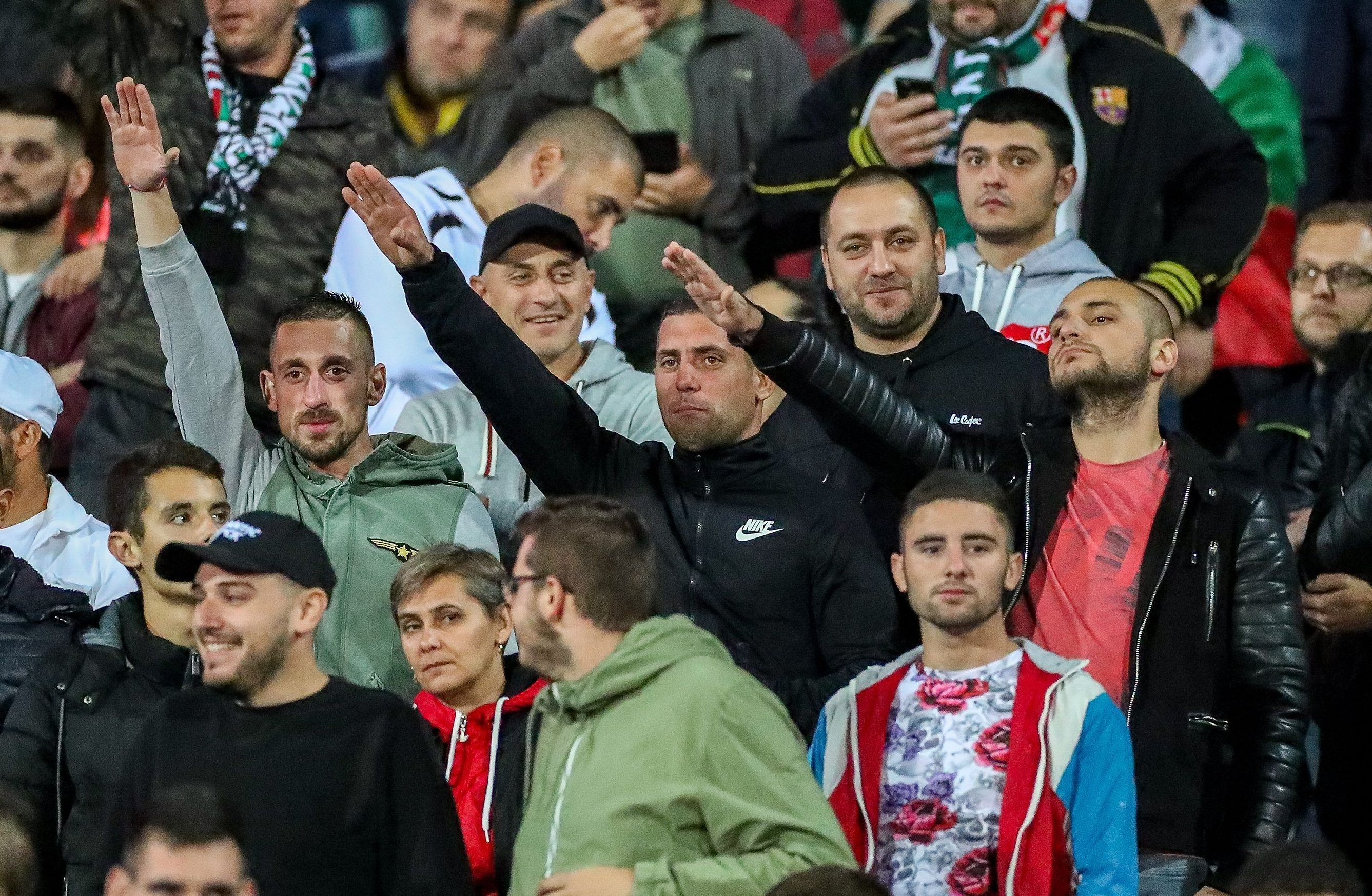 A group of Bulgarian fans could be seen doing the Nazi salute inside the ground