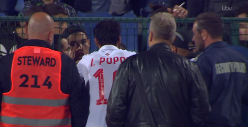 Bulgarian captain Ivelin Popov was seen at half-time pleading with fans to stop