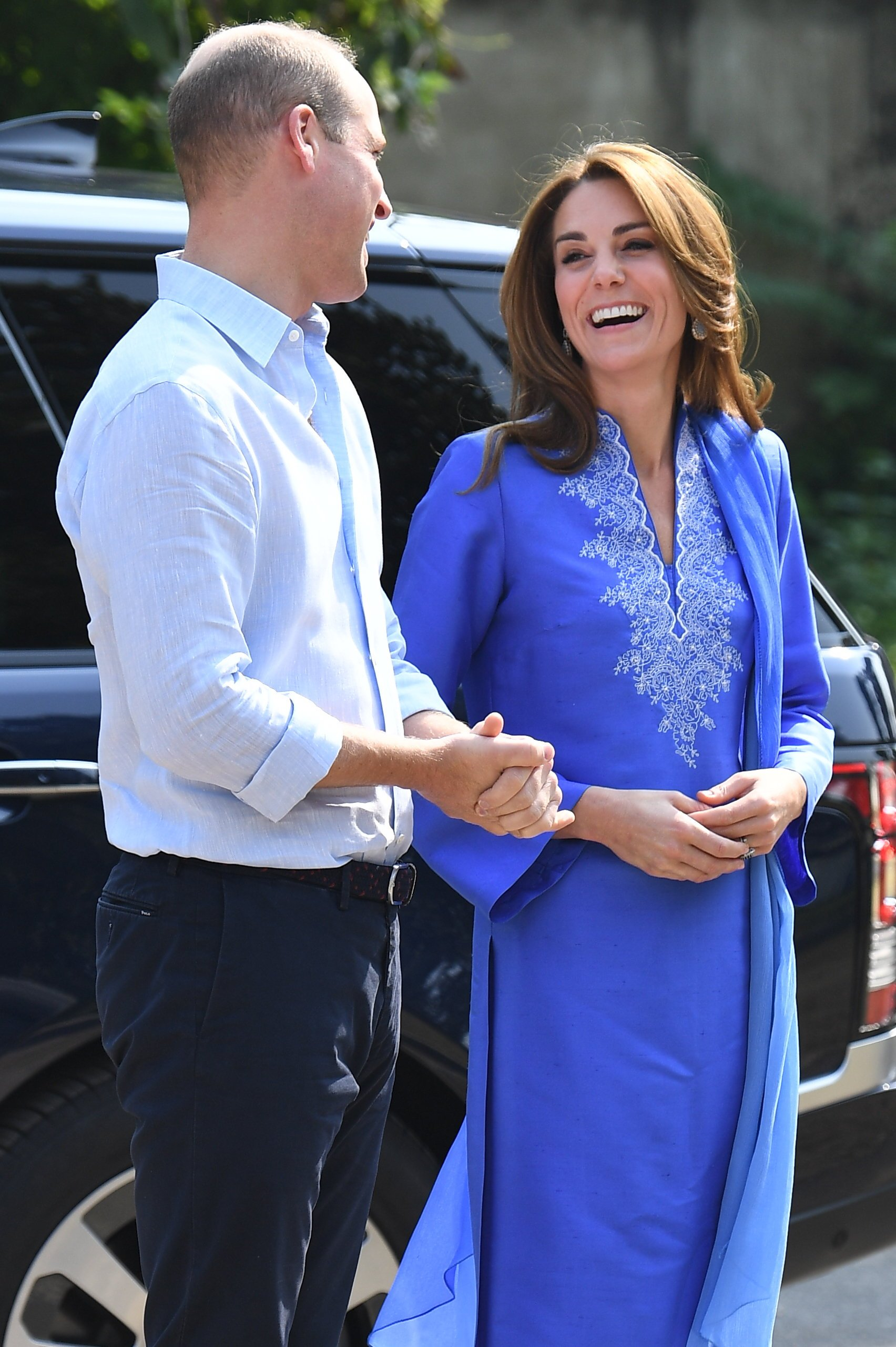 The royal couple shared a joke as they arrived at the school this morning