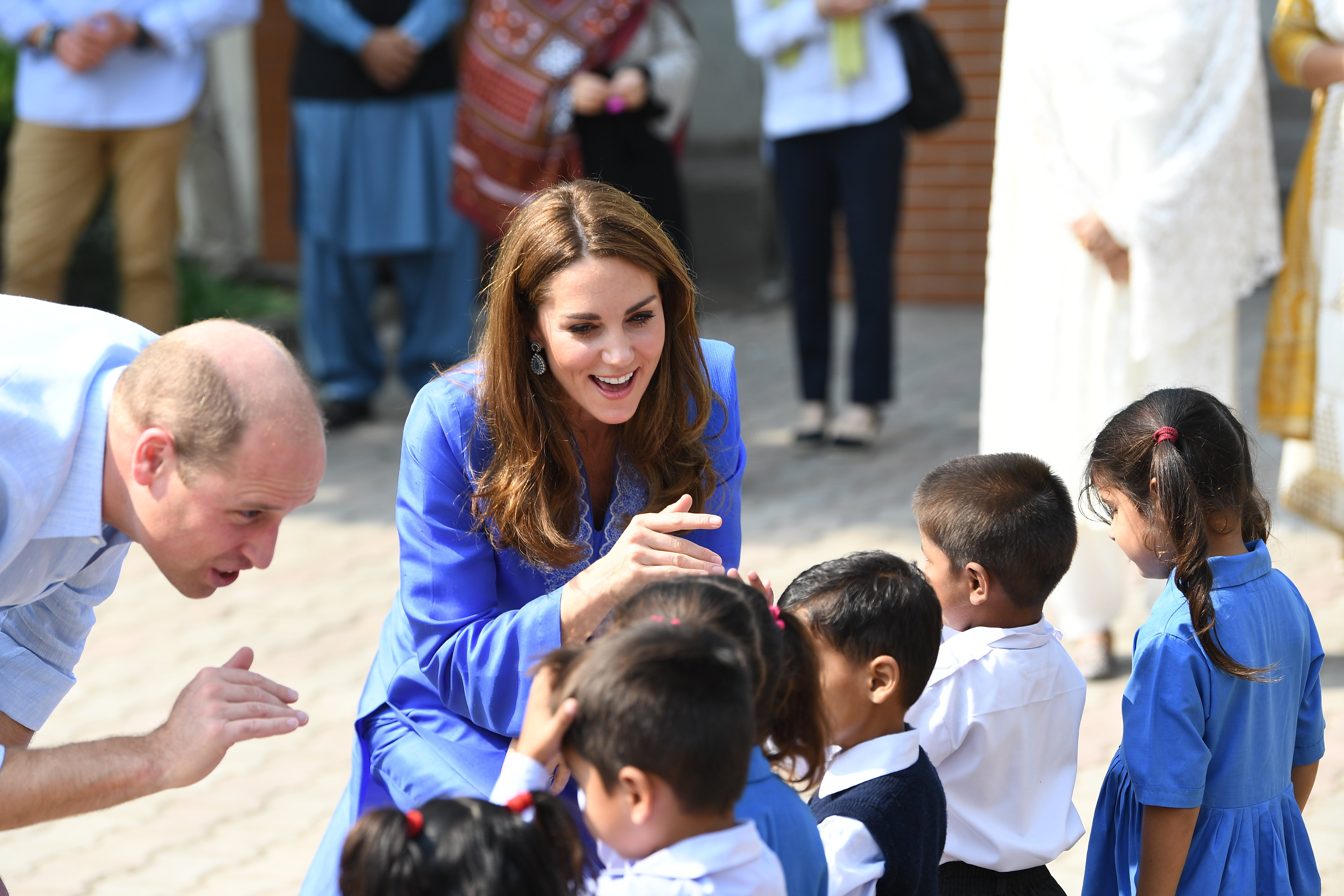 Earlier Wills and Kate met young pupils, who greeted them as they arrived at their school