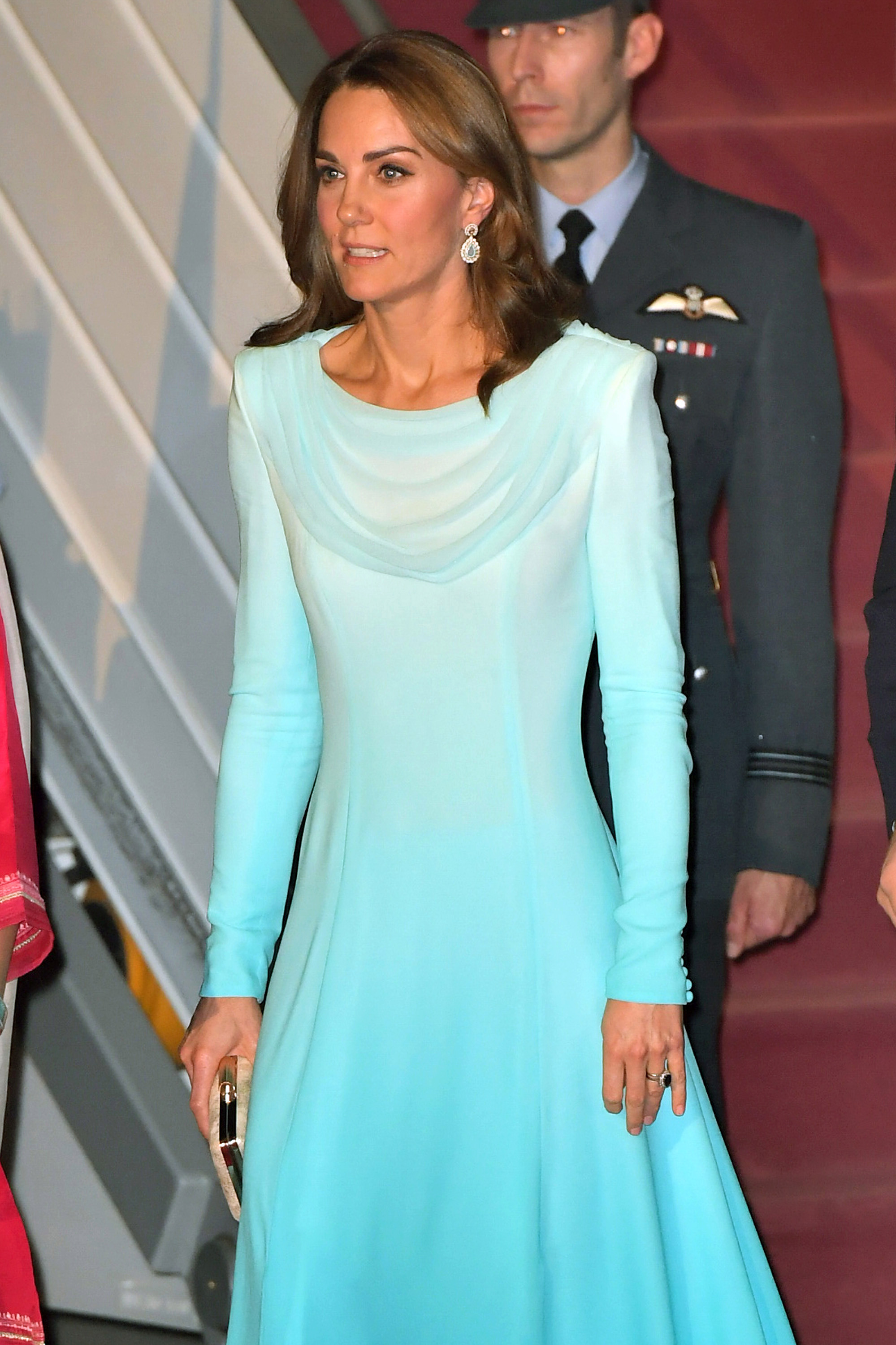 The duchess looked elegant in an aqua shalwar kameez - seen as a nod to local tradition