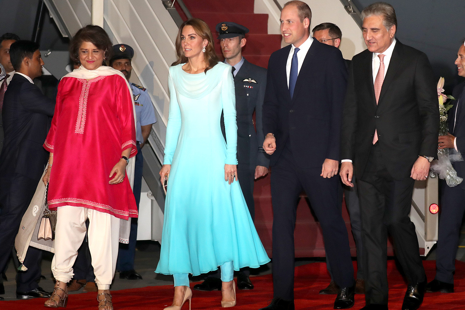 The royal couple touched down at Kur Khan airbase in Rawalpindi yesterday evening
