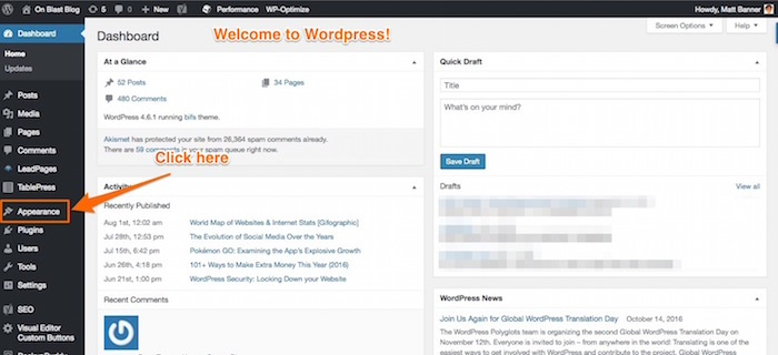 wordpress dashboard intro