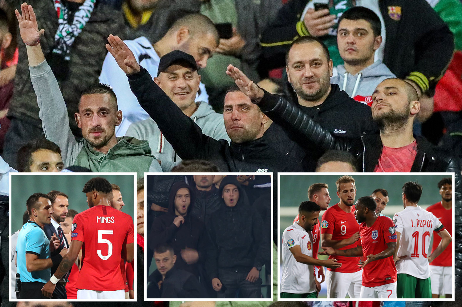 Raheem Sterling and Tyrone Mings were subjected to sick racist abuse in Bulgaria - with fans doing monkey noises and Nazi salutes
