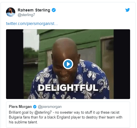 Raheem Sterling tweeted an Ainsley Harriott gif after the match
