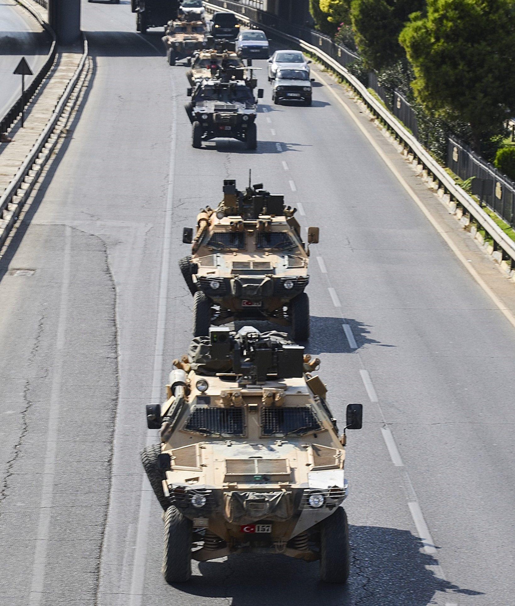 Turkish armour streams towards the Syrian border today