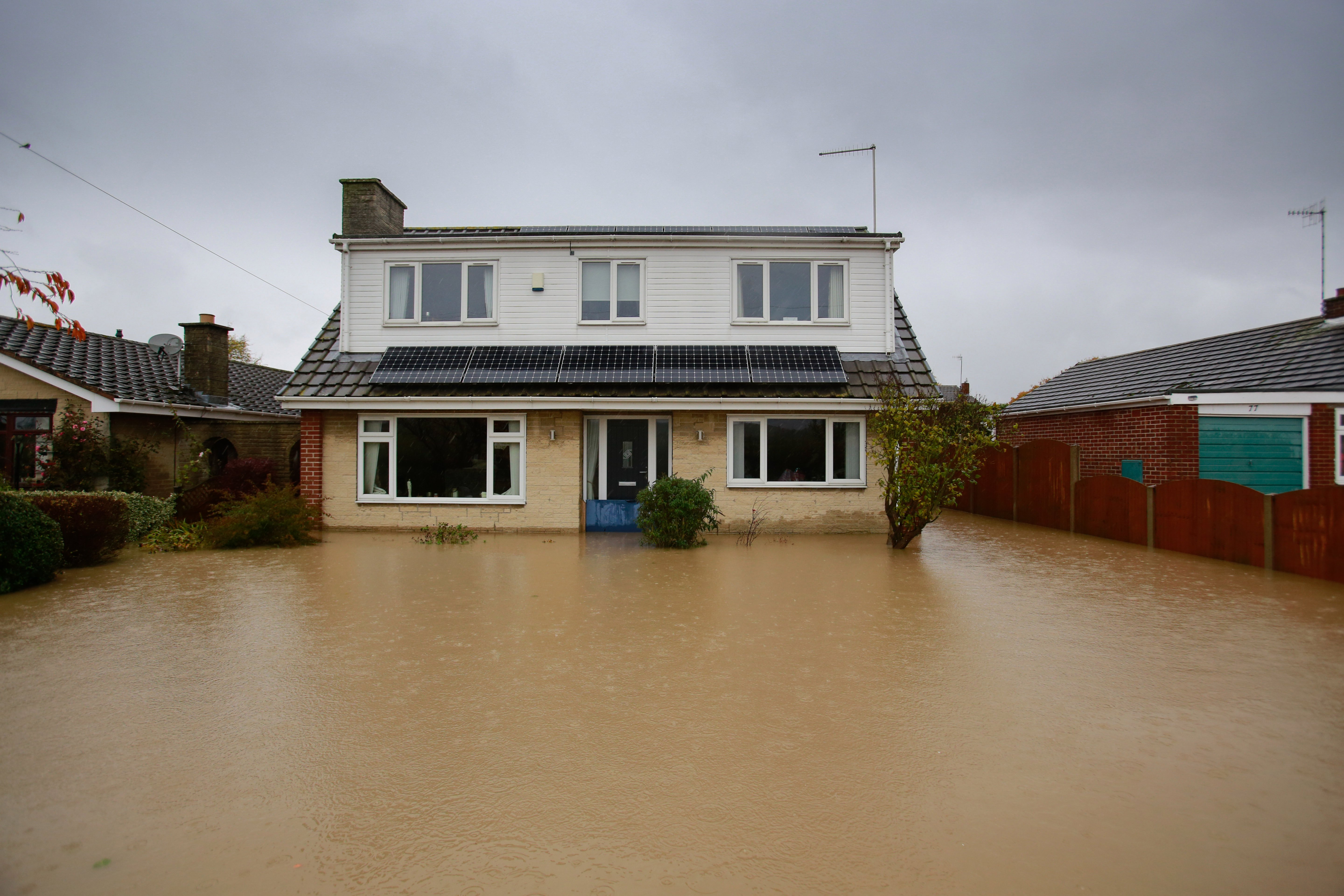 The garden of this home in Whiston became more like a lake after the flooding