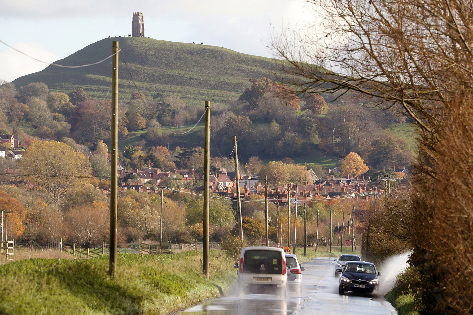 Drivers near Glastonbury Tor battled the flooded roads after the River Brue overflowed