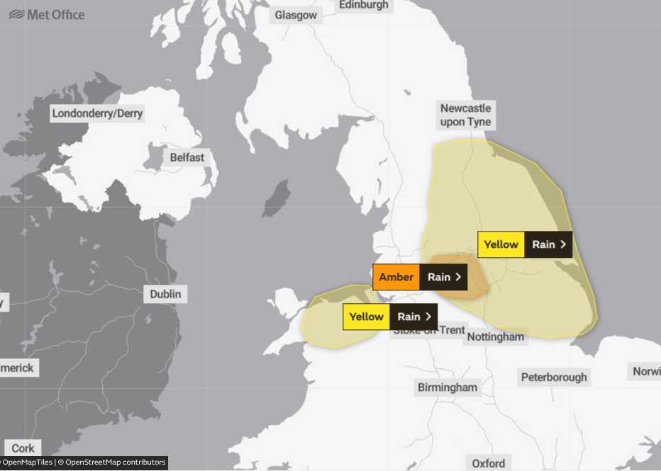 The Met Office issued a series of yellow and amber weather warnings for rain on Thursday
