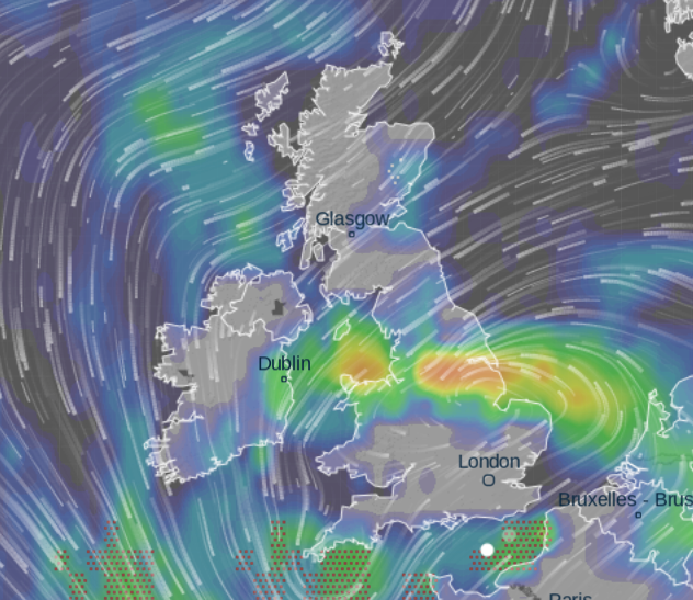 This weather map for Thursday morning shows severe downpours stretching across much of England and North Wales