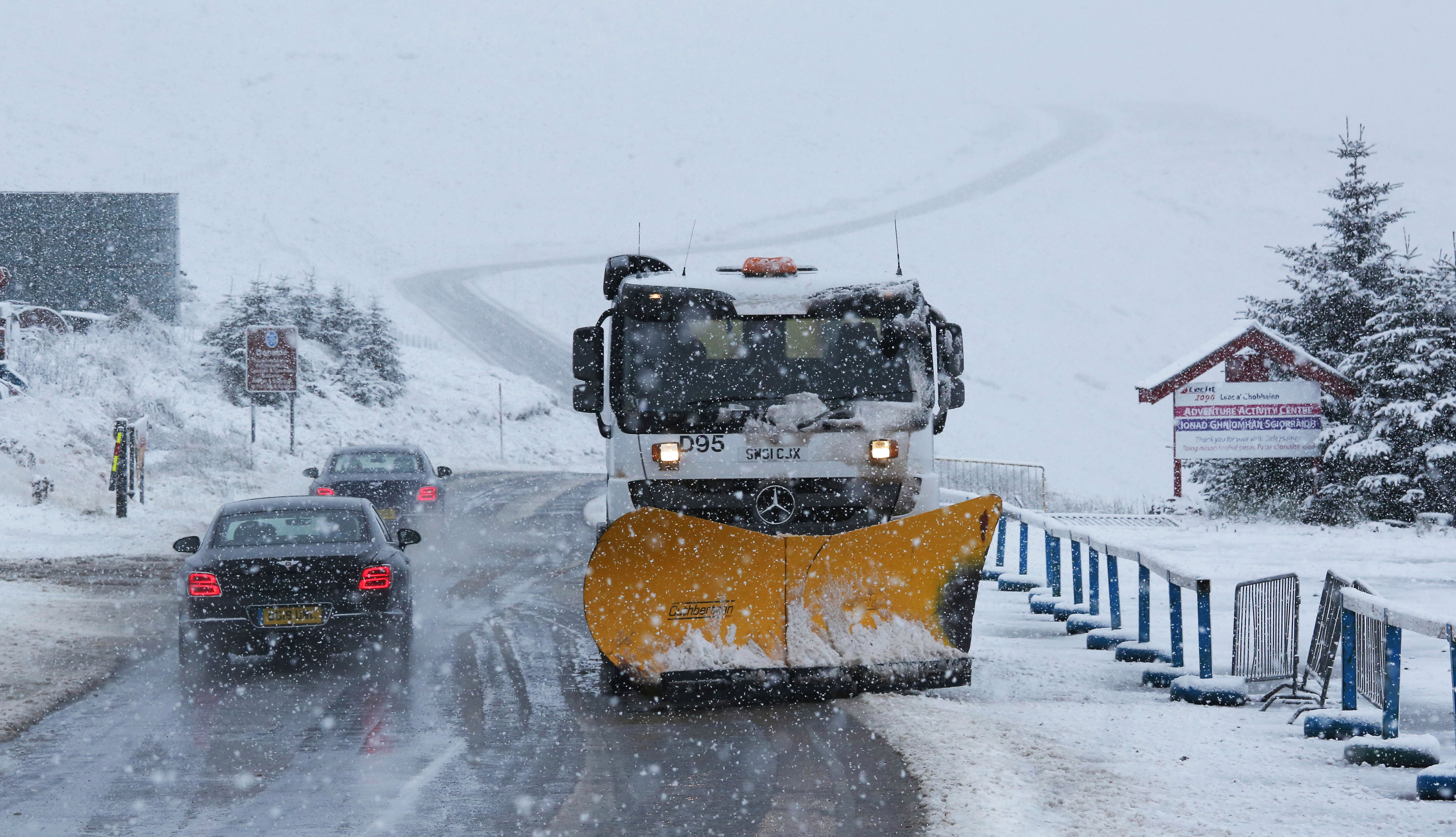Snowploughs were spotted on the A939 which runs between Cockbridge and Tomintoul
