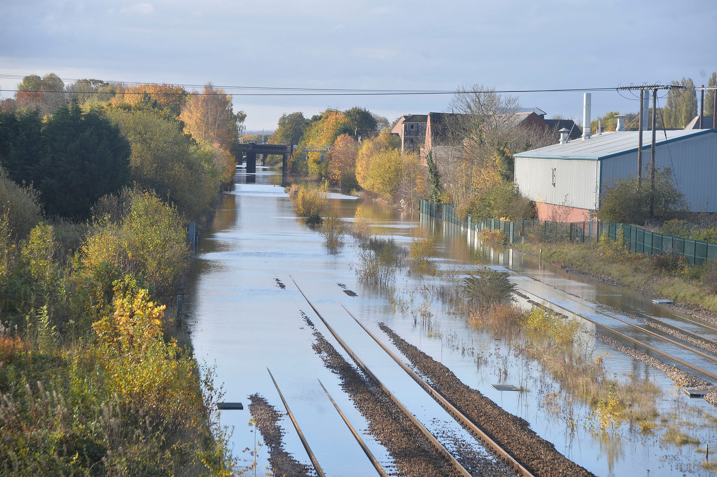 Train lines were flooded between Sheffield and Doncaster today