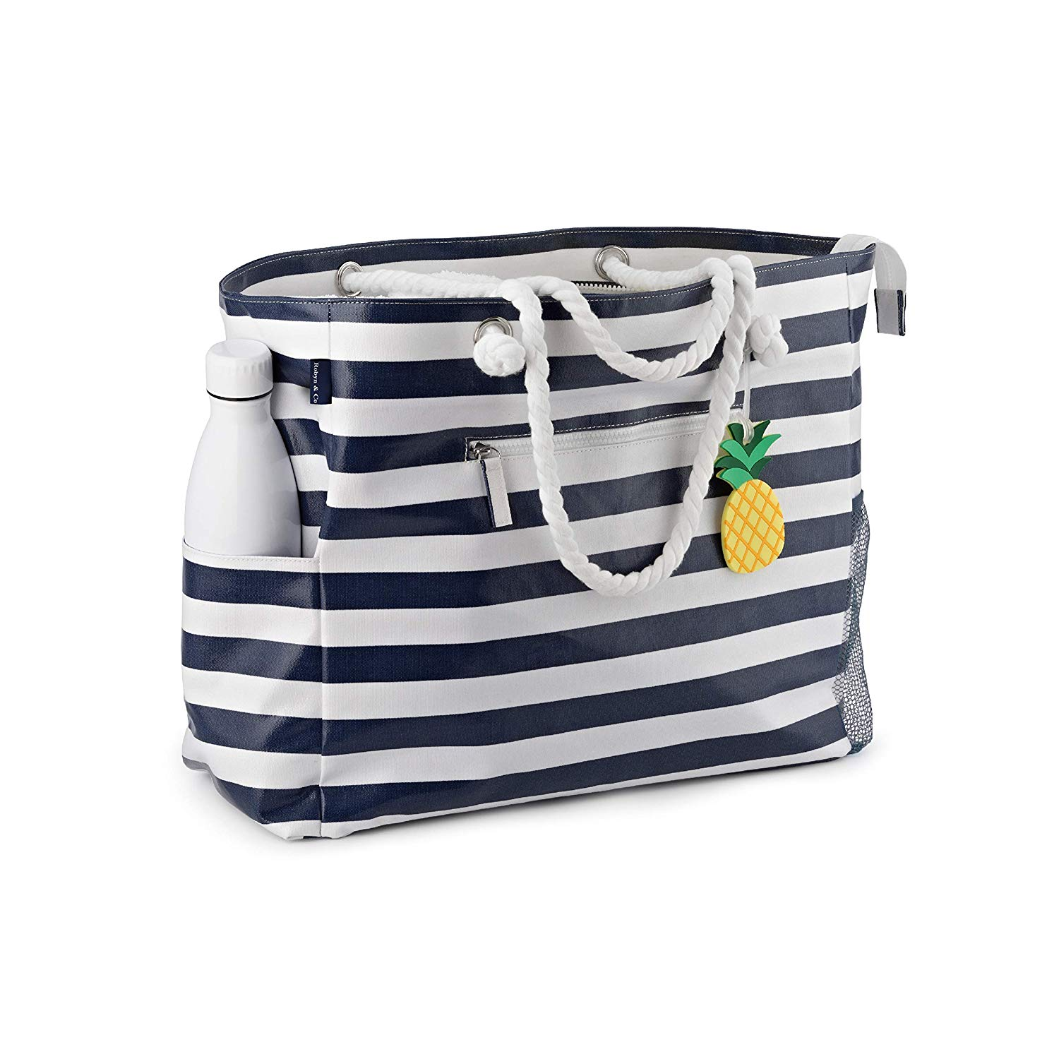 Large-Beach-Bag-Waterproof-Canvas-Beach-Tote-with-Top-Zipper-6-pockets-Navy-Blue-by-Robyn-Co