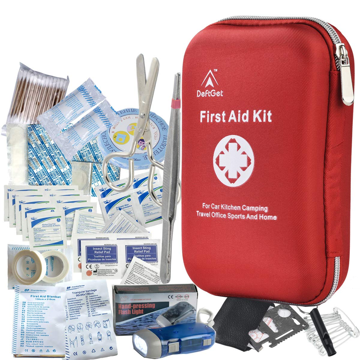 DeftGet-First-Aid-Kit--163-Piece-Waterproof-Portable-Essential-Injuries--Red-Cross-Medical-Emergency-Equipment-Kits--for-Car-Kitchen-Camping-Travel-Office-Sports-and-Home
