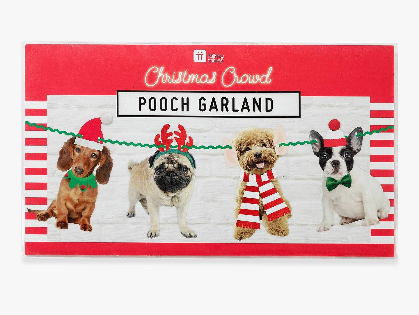 Don't just stick to standard baubles and tinsel - try some wacky decorations like this pooch garland