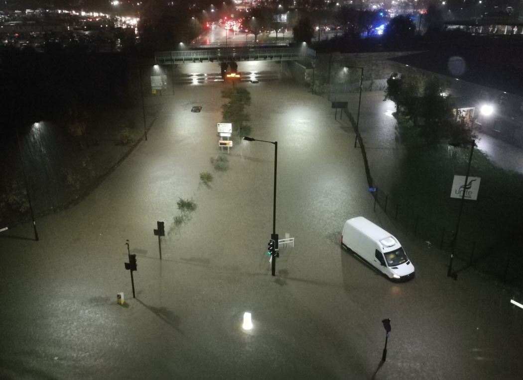 UK flooding: A resident took a photo of the flooded Meadowhall Road in Sheffield