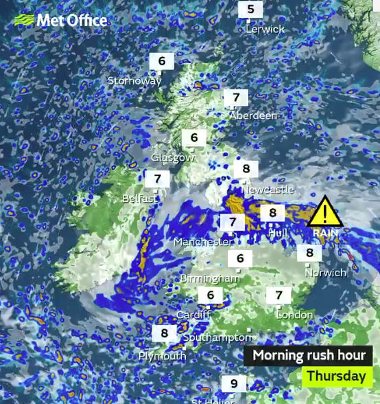 The Met Office is predicting some very wet weather across most parts of northern England