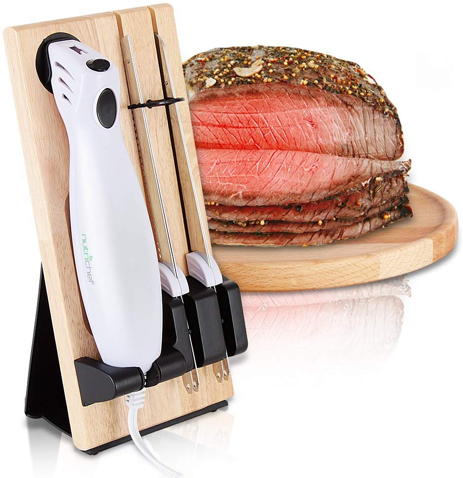 Nutrichef PKELKN16 Portable Electrical Food Cutter Knife Set with Bread and Carving Blades, Wood Stand, One Size