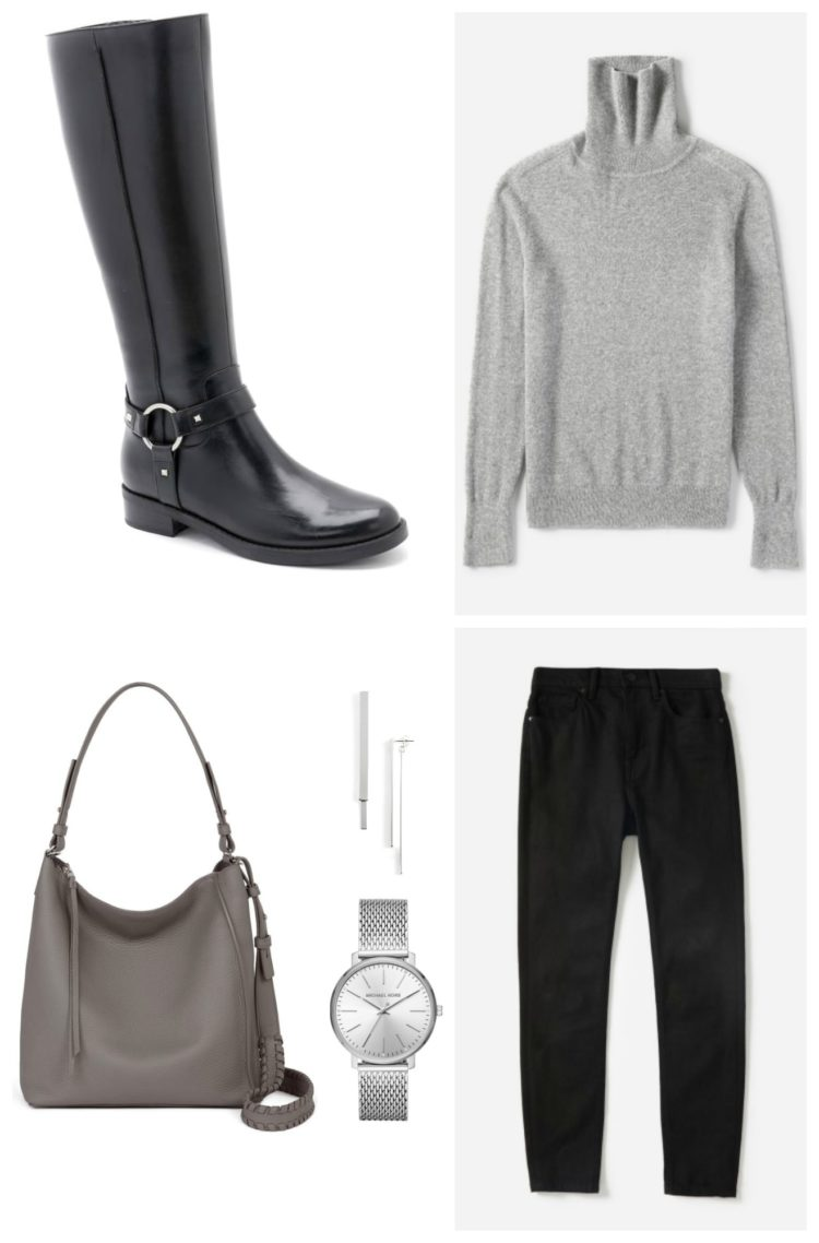 collage of black knee high boots styled with a gray sweater and bag