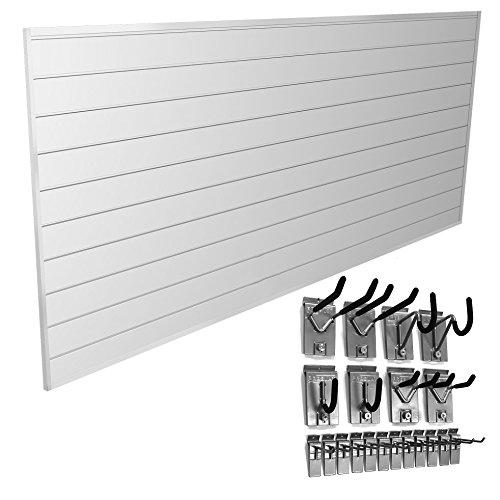 Proslat-33008-Basic-Bundle-with-Slat-Wall-Panels-and-Hook-Kit-White